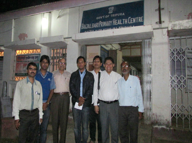 Director, NVBDCP visit Agartala and PHC Baijal Bari, District Khowai, Tripura \r\nwith Dr Leonard Ortega, Regional Advisor (Malaria), SEAR/WHO on 24.02.2015